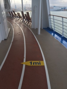 Running on the cruise deck in July is like taking a light jog around the outskirts of Dante's Inferno